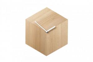 Ceas de perete hexagonal maro/alb din lemn 26x30 cm Axis Bolia