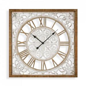 Ceas de perete patrat maro/alb din MDF 80x80 cm Exitos Versa Home