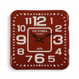 Ceas de perete patrat rosu/alb din metal 40x40 cm Victoria Station Versa Home