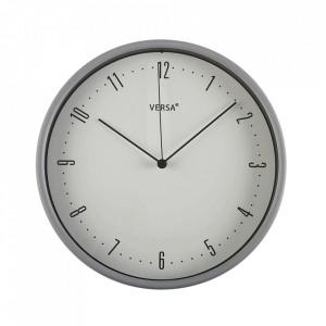 Ceas de perete rotund gri din plastic 25 cm Jazy Versa Home