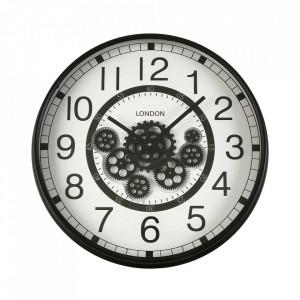 Ceas de perete rotund negru/alb din MDF si sticla 54,5 cm Shawn Versa Home