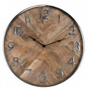 Ceas perete rotund maro/argintiu din inox si lemn 60 cm Jayden Richmond Interiors