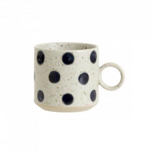 Ceasca bej nisipiu/albastra din ceramica 270 ml Grainy Dot Cup Nordal