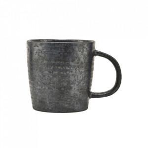 Ceasca neagra/maro din portelan 9x9 cm Pion House Doctor