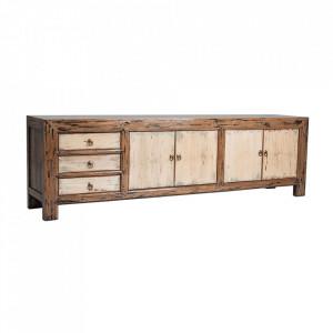 Comoda TV bej/maro din lemn 200 cm Sumy Vical Home