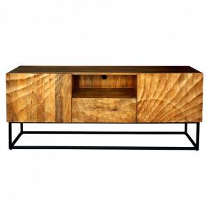 Comoda TV maro din lemn de mango si metal 160 cm Scorpion Invicta Interior