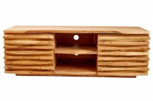 Comoda TV maro din lemn de salcam 150 cm Lowboard Relief Invicta Interior