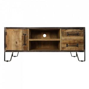 Comoda TV maro/neagra din lemn si fier 130 cm Hayward HSM Collection