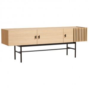 Comoda TV maro/neagra din lemn si metal 150 cm Array Woud