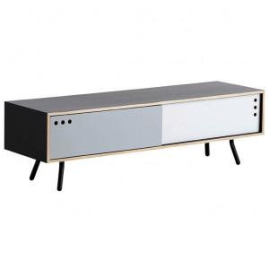 Comoda TV neagra/gri din placaj si metal 140 cm Geyma Woud