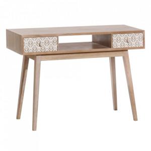 Consola alba/maro din lemn de paulownia si MDF 115 cm Terrak Ixia