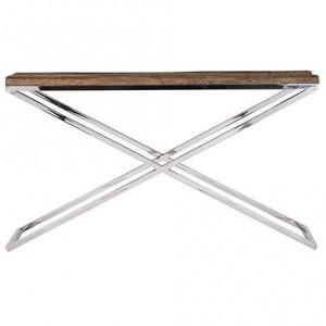 Consola maro/argintie din lemn si inox 140 cm Kensington Richmond Interiors