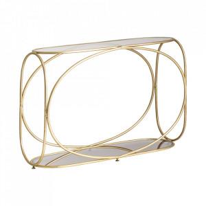 Consola maro cupru/transparenta din fier si sticla 111 cm Kruth Vical Home