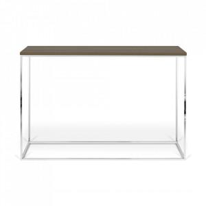 Consola maro inchis/argintie din lemn si otel 120 cm Gleam TemaHome