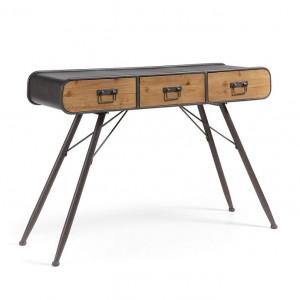 Consola maro/neagra din lemn de brad si otel 120 cm Helia La Forma