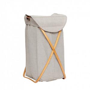 Cos rufe gri cu capac din textil si lemn de bambus Geo Hubsch