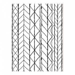 Covor alb/negru din lana si bumbac 170x240 cm Lines Urban Nature Culture Amsterdam