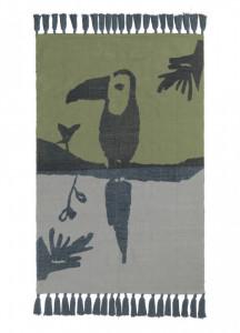 Covor dreptunghiular verde din bumbac pentru copii 100x150 cm Toucan Nofred