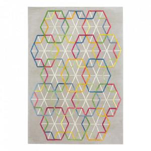 Covor multicolor din viscoza si lana Hexagon Ligne Pure (diverse dimensiuni)