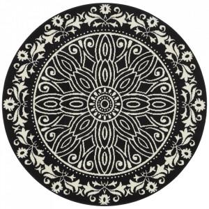 Covor negru din polipropilena 140 cm Vintage Floral The Home