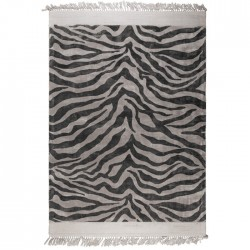 Covor negru din viscoza 200x300 cm Zebra Friendly Black Bold Monkey