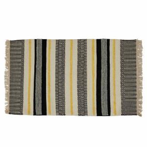 Covor negru/galben din lana si viscoza 70x140 cm Yamu Zago