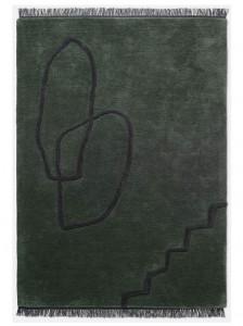 Covor verde din lana 200x300 cm Desert Tufted Ferm Living