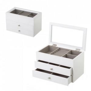 Cutie cu capac pentru bijuterii alba/gri din MDF Fiona Unimasa
