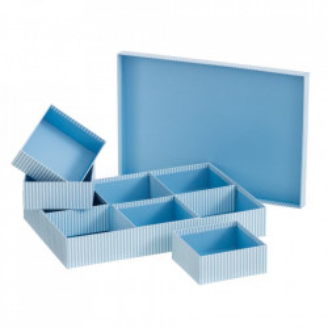 Cutie cu capac si 6 compartimente albastra din carton Lines Unimasa