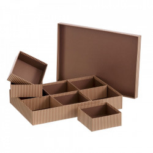 Cutie cu capac si 6 compartimente maro din carton Lines Unimasa