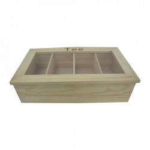 Cutie pentru ceaiuri maro/transparenta din lemn si plastic acrilic Tea Lovers Zeller