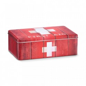 Cutie rosie/alba cu capac din metal pentru medicamente First Aid Red Medium Zeller