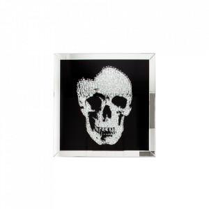 Decoratiune argintie/neagra din MDF si oglinda 60 cm Skull Invicta Interior