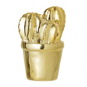 Decoratiune aurie din portelan 9 cm Gold Cactus Bloomingville