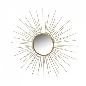 Decoratiune cu oglinda aurie din fier pentru perete 80 cm Mara Unimasa