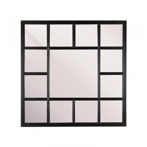 Decoratiune cu oglinda neagra din lemn pentru perete 69x69 cm Fernao Square LifeStyle Home Collection