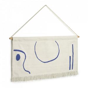 Decoratiune de perete alba/albastra din bumbac 28x70 cm Atal Kave Home