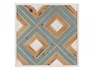 Decoratiune de perete din fier si lemn  61x61 cm Block Santiago Pons