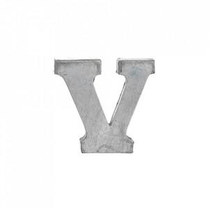 Decoratiune gri din fier 5,5 cm Letter V Madam Stoltz