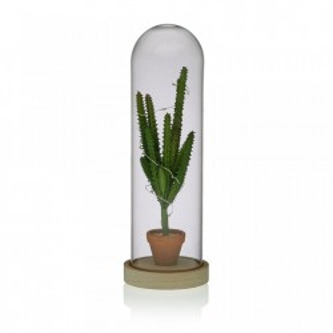 Decoratiune luminoasa LED verde/maro din sticla Cactus Versa Home