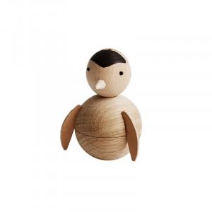 Decoratiune maro din lemn 9 cm Penguin Oyoy