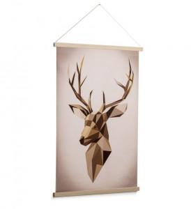 Decoratiune maro din lemn pentru perete 60x90 cm Nomand Deer La Forma