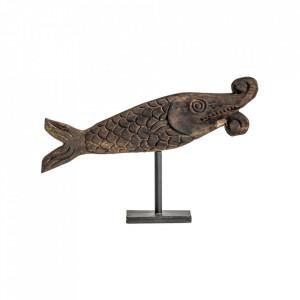 Decoratiune maro din lemn si fier 36 cm Fish Vical Home