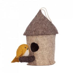 Decoratiune suspendabila maro din fetru 22 cm Mus Birdhouse Kids Depot