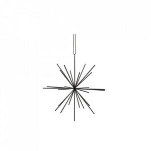 Decoratiune suspendabila neagra din fier si piele Star Strap Hubsch