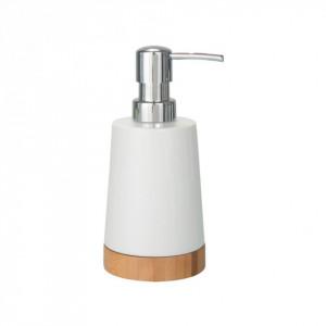 Dispenser sapun lichid alb/maro din ceramica si lemn 330 ml Sepp Wenko