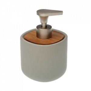 Dispenser sapun lichid gri din ceramica 9,5x14 cm Clarise Versa Home