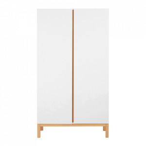Dulap alb/maro din MDF si lemn 198 cm Indigo Two Quax
