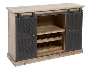 Dulap din lemn de brad si fier pentru sticle 120x38x82 cm Morna Santiago Pons
