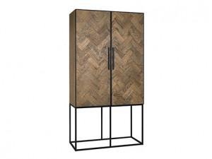 Dulap maro/negru din lemn si metal 210 cm Herringbone Cabinet Richmond Interiors